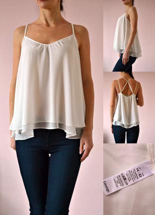 Белая базовая блуза на тонких бретелях 14(l)