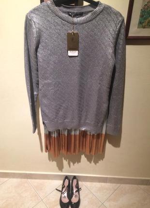 Серебряный свитер stradivarius р s
