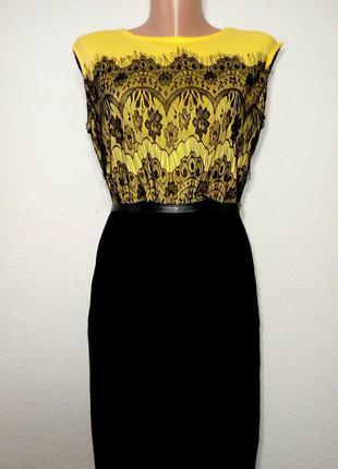 Платье трикотаж с ажурной вставкой р 12