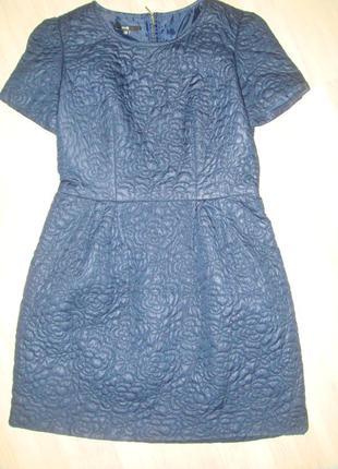 Стеганое темно-синее платье на наш 46-48