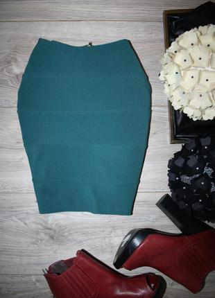 Бандажная мини юбка морского цвета
