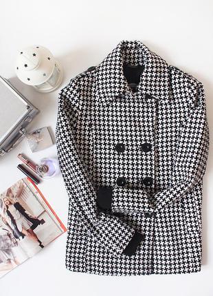 Классное пальто с шерстью, принт гусиные лапки bik bok