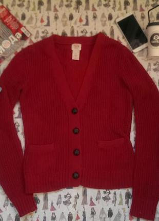 Джемпер кофта на пуговицах красная размер s свитер кардиган