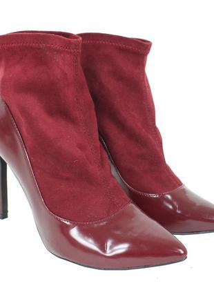 Бордовые ботинки с эластичным верхом 8147