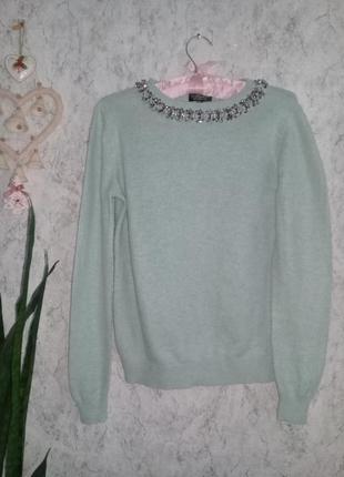 Мягкий мятный свитерок с ожерельем р. 44 -46 от topshop