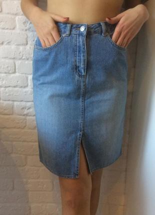 Стильная джинсовая олдскульная юбка