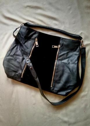 Шикарная брендовая сумка шопер от легендарного бренда h&m,эко кожа,кожзам,замша