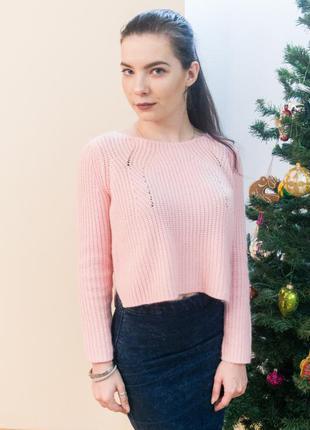 Укорочений светрик topshop зефірно-рожевого кольору