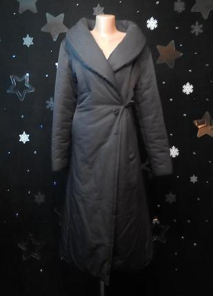 Длинное шикарное итальянское дутое пальто