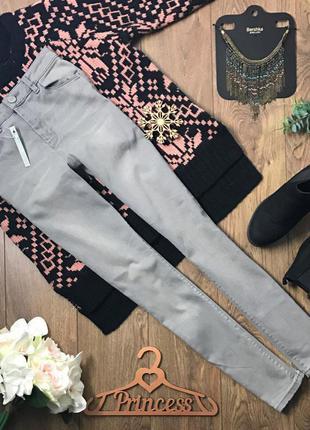 Светло-серые джинсы-скинни с высокой посадкой    pn35005    asos