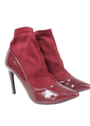 Бордовые ботинки с эластичным верхом 8148