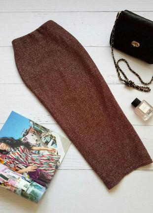 Трендовая юбка миди с металлической нитью top shop