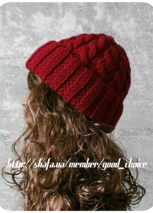 Хлопковая шапка с отворотом/с косами тёмно-красного цвета