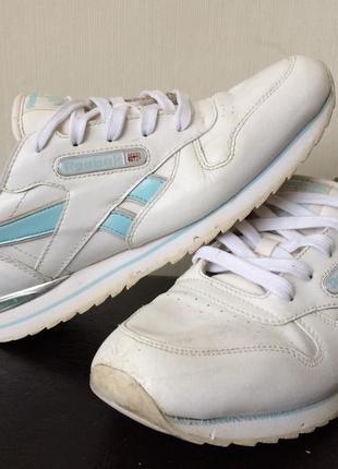 Кроссовки reebok classic белые с голубым