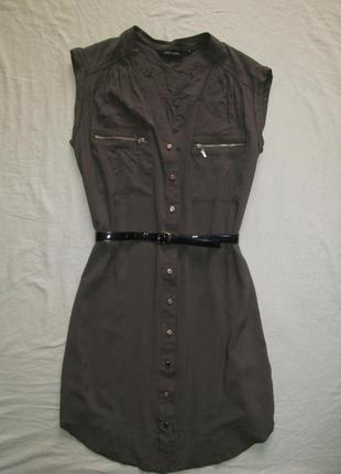 Платье-рубашка в сафари стиле , миди
