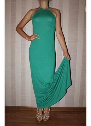 Платье в пол зеленое bershka