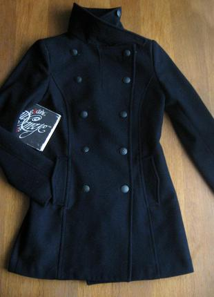 Демісезонне шерстяне пальто мілітарі від h&m