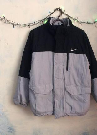 Куртка пуховик nike на флисе, двухсторонняя на зиму