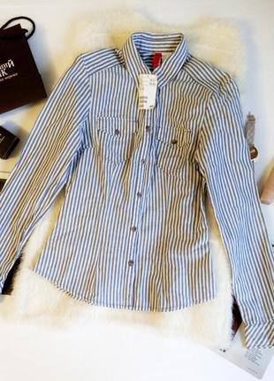 Классная рубашка в полоску и карманами на груди от h&m маленький размер