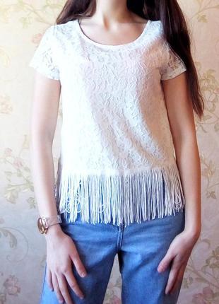 Белая кружевная футболка, топ с бахромой от h&m