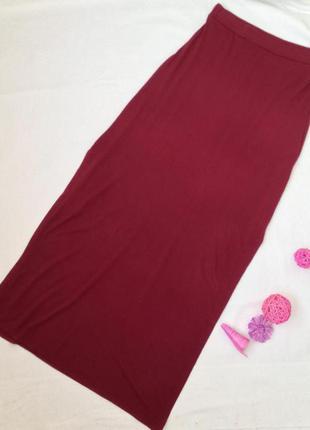 Актуальная юбка в пол,макси с разрезами цвета марсала river island