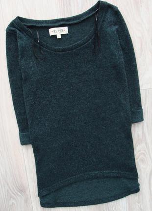 Вязаная удлиненная сзади кофта свитер пуловер джемпер изумрудного цвета с рукавом 3\4 new look