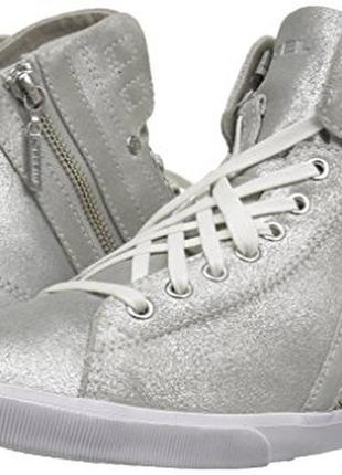 Серебристые кожаные кеды бренд diesel р. 40