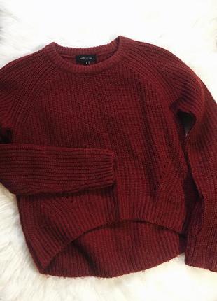 Тёплый кроп свитер цвета марсала от new look
