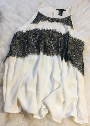 Шикарная блуза кремового цвета с дорогим кружевом от forever 21