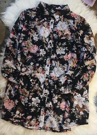 Шифоновая удлиннённая рубашка в цветочный принт с рукавом 3/4 с кармашком на груди
