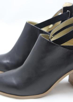 Натуральные ботильоны promod. кожаные туфли, черные, новые