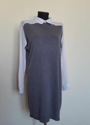 Элегантное комбенированое платье с воротником