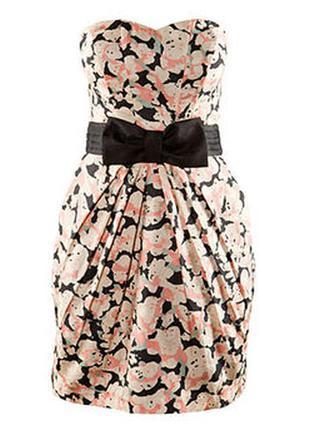 Шикарное красивое коктейльное платье бюстье цветочный принт от h&m