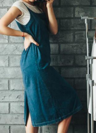 Джинсовое платье миди zara размер s m