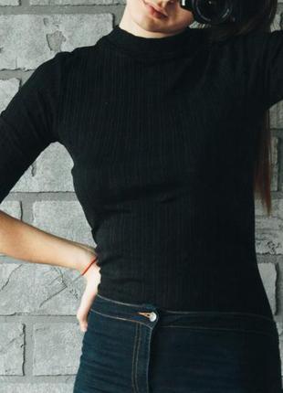 Гольф кофта чёрный в рубчик topshop размер s m