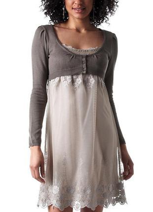 Кружевное нежное платье темно-серого цвета от promod