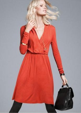 Оранжевое платье h&m миди до колена с запахом лето размер 44-46 rus