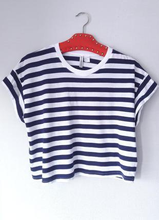 Укороченная футболка короткая кроп топ в полоску размер s m h&m