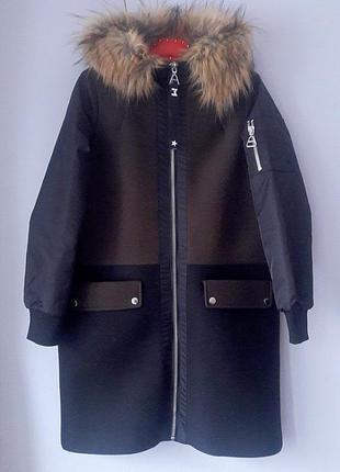 Mango s размер пальто зимняя парка на молнии удлиненная шерсть капюшон с мехом