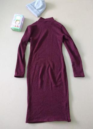 Трендовое платье миди гольф цвета марсала (ручная работа)