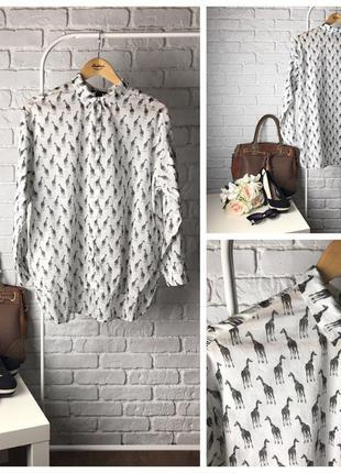 Очаровательная блуза-оверсайз с принтов в виде жирафиков     bl0309    h&m