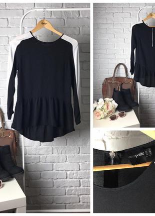 Необычная воздушная блуза с легкой баской и контрастными вставками на рукавах    bl0313    asos
