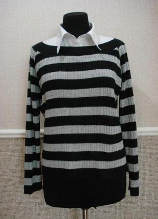 Вязаная кофта кофта с длинным рукавом и рубашкой обманкой свитер в полоску большого размера 16/18