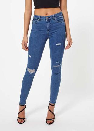 Идеальные джинсы скинни рваные на высокой посадке miss selfridge