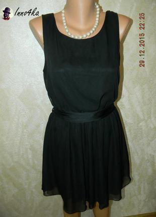 Черное шифоновое платье с открытой спиной figa
