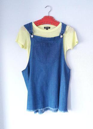 Джинсовое платье комбинезон с карманом h&m размер s m