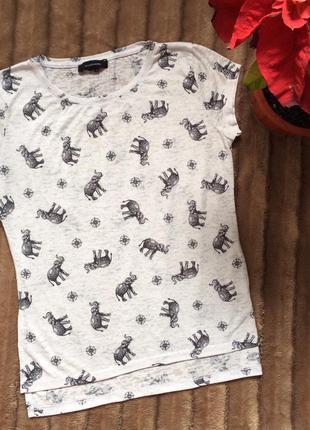 Легкая футболка с слонами и компасами от atm