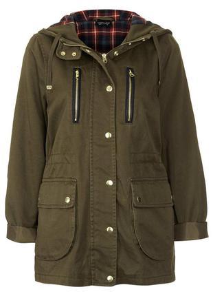 Котоновая куртка парка topshop