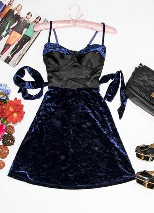 Бархатное платье со вставкой атласа next