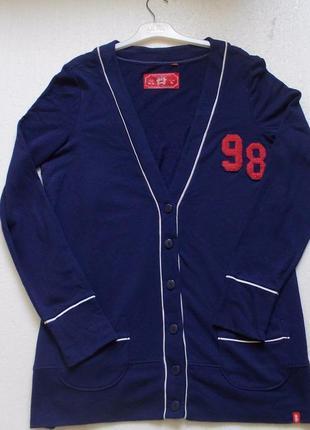 Кардиган спортивный синий кофта на пуговицах esprit